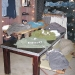 Merchandising table and on a camp bed