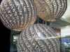 Lighting inside the window - a trio of basket weave ball lamps